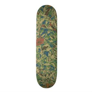 Flowers against leaf camouflage pattern skateboard decks