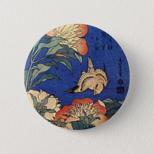 Flowers and a Bird 6 Cm Round Badge
