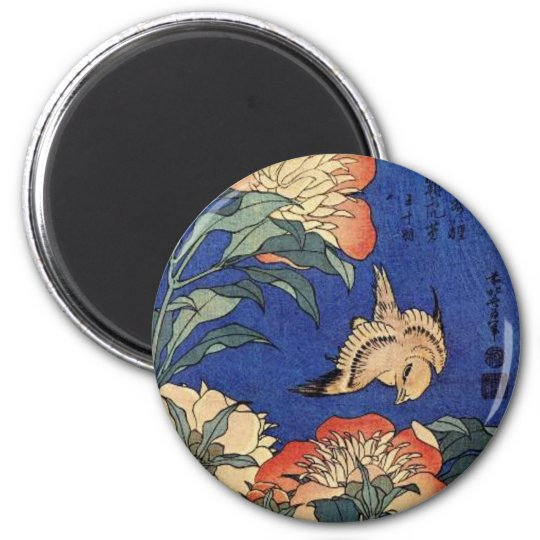 Flowers and a Bird 6 Cm Round Magnet