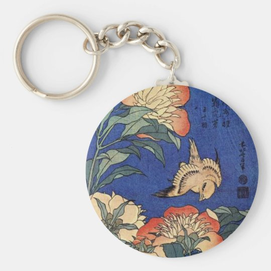 Flowers and a Bird Basic Round Button Key Ring