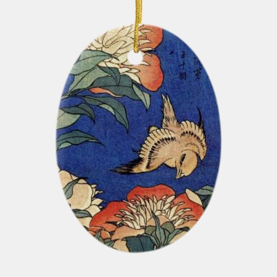 Flowers and a Bird Ceramic Oval Decoration