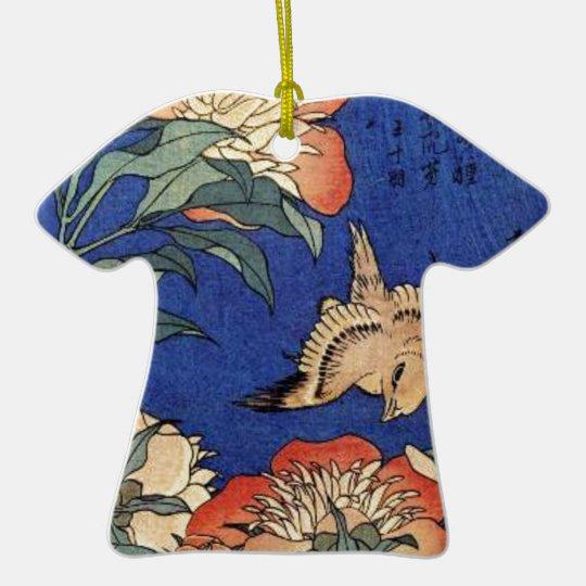Flowers and a Bird Ceramic T-Shirt Decoration