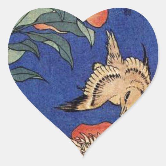 Flowers and a Bird Heart Sticker