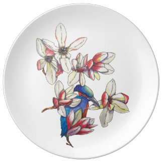 flowers and a bird plate