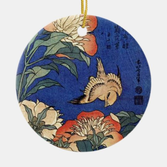 Flowers and a Bird Round Ceramic Decoration