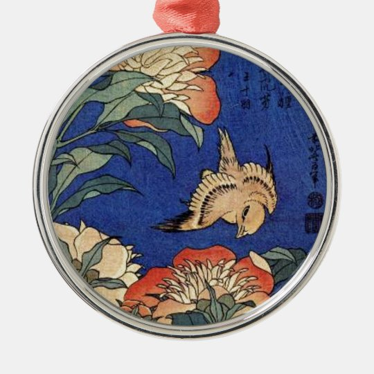 Flowers and a Bird Silver-Colored Round Decoration