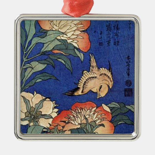 Flowers and a Bird Silver-Colored Square Decoration