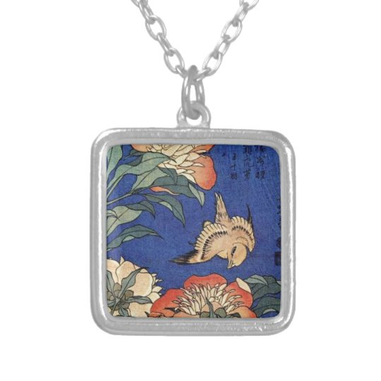 Flowers and a Bird Silver Plated Necklace