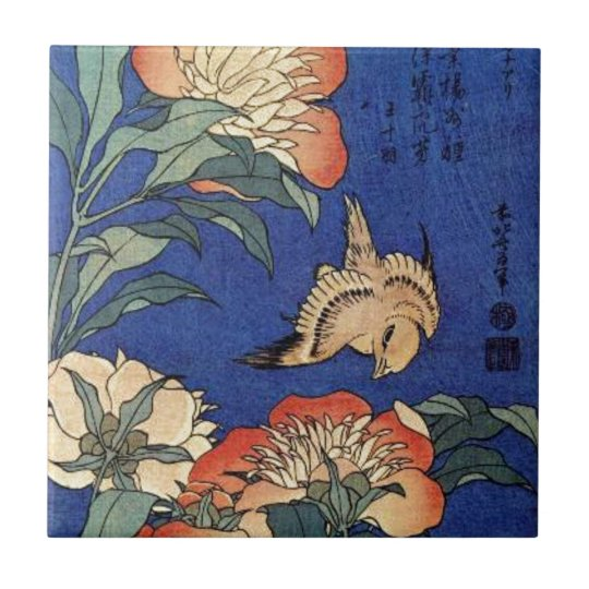 Flowers and a Bird Small Square Tile