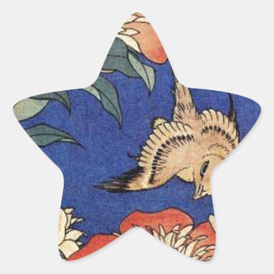 Flowers and a Bird Star Sticker
