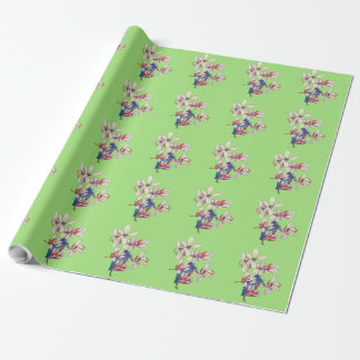 flowers and a bird wrapping paper