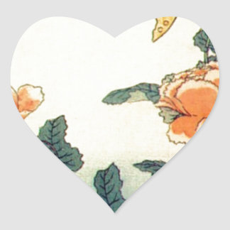 Flowers and a Butterfly Heart Sticker