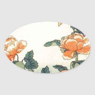 Flowers and a Butterfly Oval Sticker