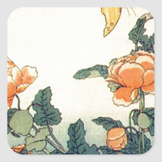 Flowers and a Butterfly Square Sticker