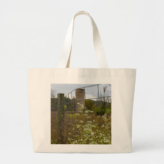 Flowers And A Silo Large Tote Bag