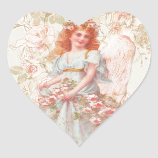 Flowers and Angel Vintage Collage Heart Sticker