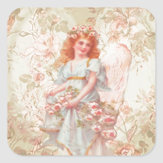 Flowers and Angel Vintage Collage Square Sticker