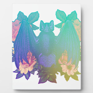 Flowers and bats plaque