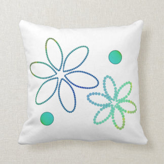 Flowers and beads in yellow, green and blue throw pillow