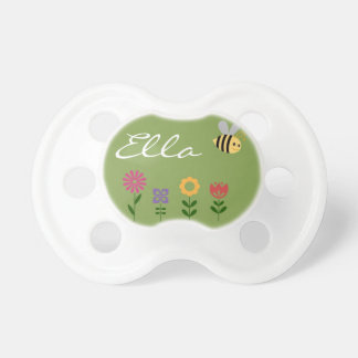 Flowers and Bee Garden Personalized Pacifier