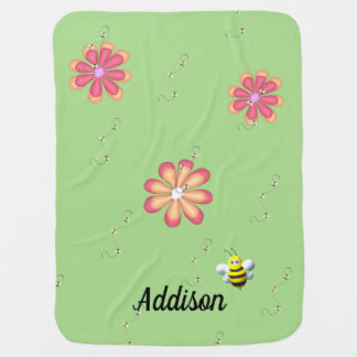 Flowers and Bees on Lime Baby Blanket