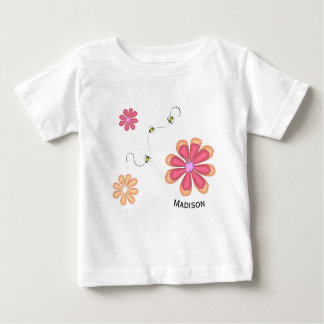 Flowers and Bees with Name Baby T-Shirt