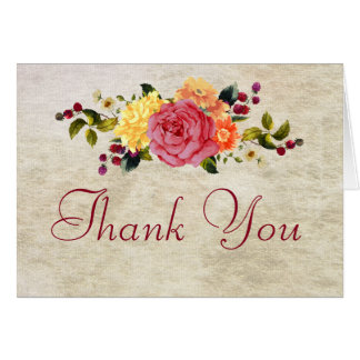 Flowers and Berries Thank You Card