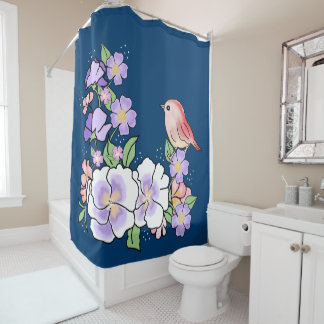 flowers and bird shower curtain