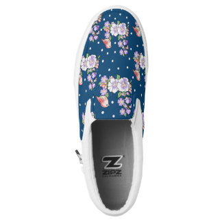 flowers and bird Slip-On shoes