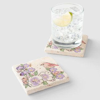flowers and bird stone beverage coaster