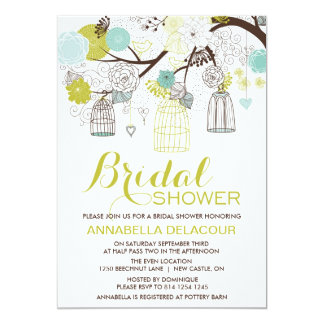 Flowers and Birdcages Bridal Shower Invitation