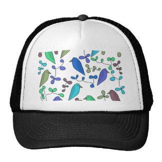 Flowers and birds - blue cap