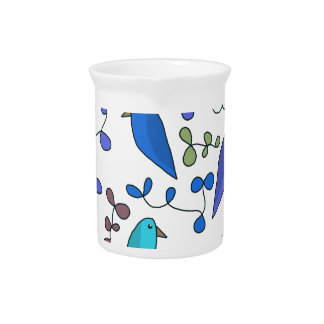 Flowers and birds - blue pitcher