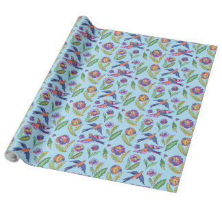 Flowers and birds wrapping paper