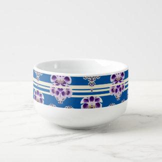 Flowers and Blue Lines  Soup Mug