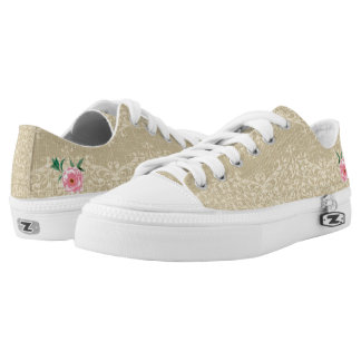 Flowers and Burlap Lace Printed Shoes