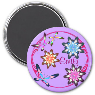 Flowers and butterflies 7.5 cm round magnet