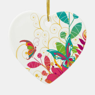 Flowers and Butterflies Ceramic Heart Ornament