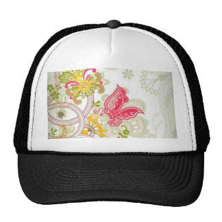 flowers and butterflies trucker hats