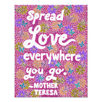Flowers And Butterflies Love Typography Quote Photographic Print