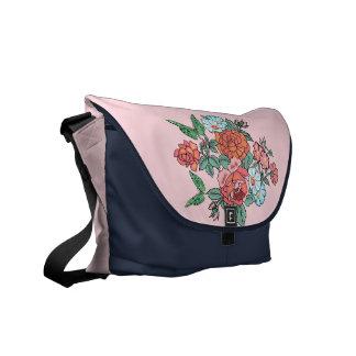 flowers and butterflies messenger bags