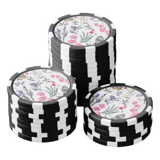 Flowers and Butterflies Poker Chips