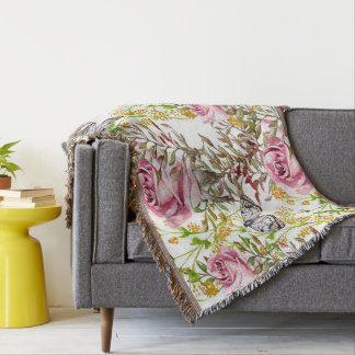 flowers And Butterflies Throw Blanket