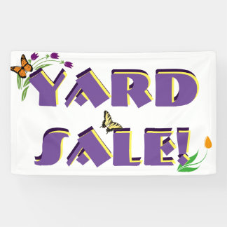Flowers and Butterflies - Yard Sale Sign Banner