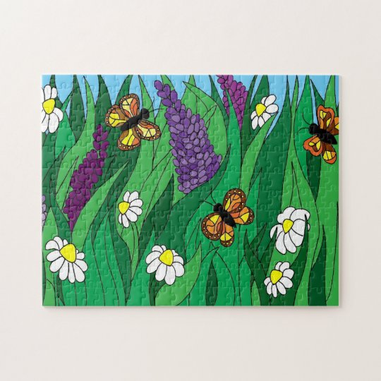Flowers and Butterfly Jigsaw Puzzle