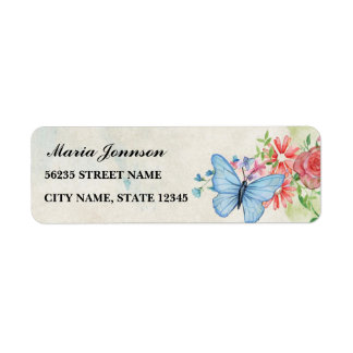 flowers and butterfly,on bright backround return address label