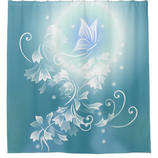Flowers and Butterfly Teal Shower Curtain