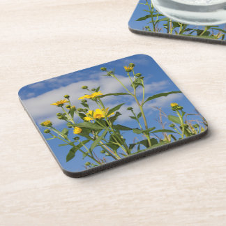 Flowers and Cornfield in Iowa Photo Coaster