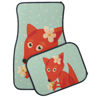 Flowers And Cute Fox Car Mat