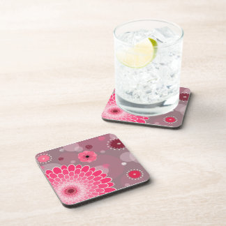 Flowers and Dots Cork Coasters